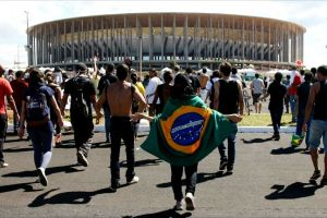 Brazilians protesting in the capital, Brasilia.