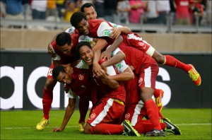 Tahiti Vs. Nigeria: The Tahitians celebrating their first and only goal in the competition