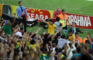 After scoring a goal, the players of the Selecao jumped into the crowd